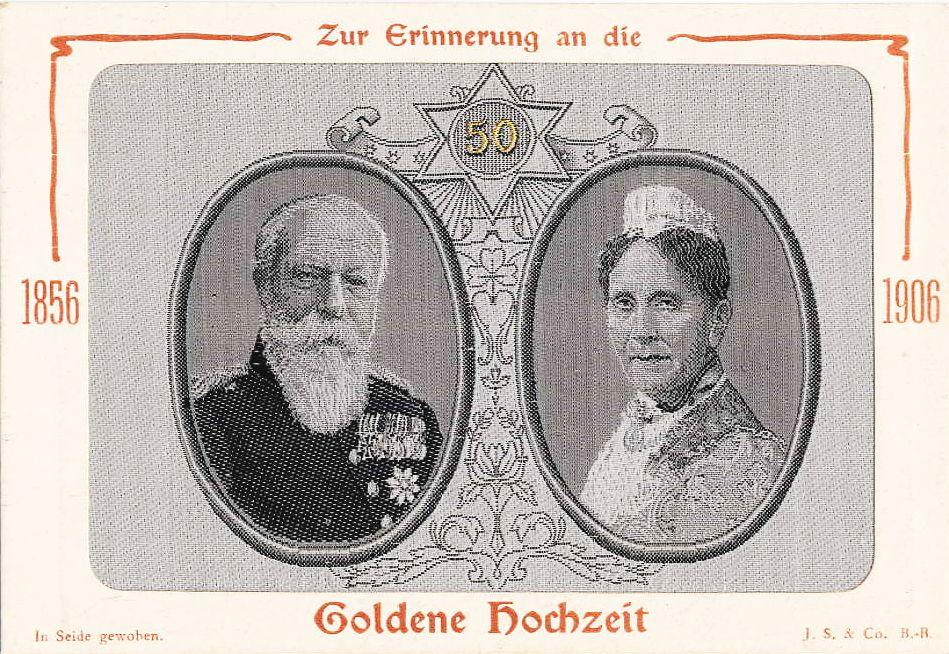 Seidenbild Zur Erinnerung An Die Goldene Hochzeit 1856 1906 Grossherzog Frie